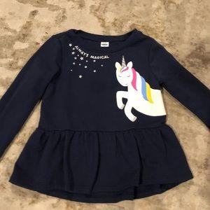 Old navy blue unicorn sparkle shirt 3t